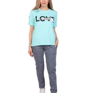 """Костюм """"Love"""" брюки бирюза"""